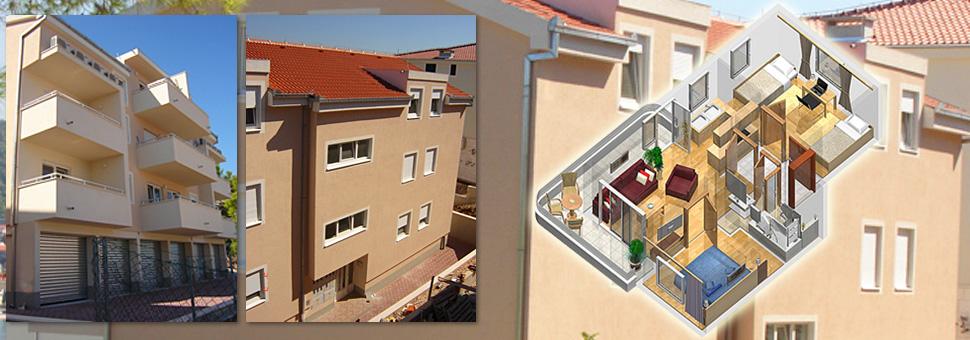 Stambena gra?evina na ?iovu Trogir - Okrug GornjiIzgra?ena je na principu trojne gra?evine (kao tri dilatirana objekta u nizu). Na svakome ulazu nalazi se po osam zasebnih stambenih jedinica. ....